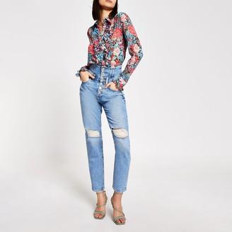 River Island Womens Blue high rise corset waist ripped jeans