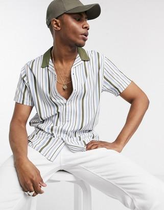 Jack and Jones Originals contrast revere collar stripe short sleeve shirt in white