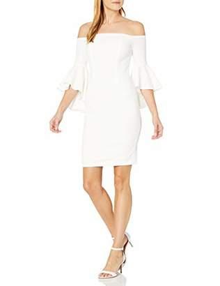 Calvin Klein Women's Off The Shoulder Solid Bell Sleeve Sheath Dress