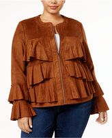 INC International Concepts Anna Sui Loves Plus Size Ruffled Faux-Suede Jacket, Created for Macy's