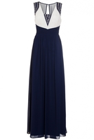 Quiz Navy And Cream Embellished Pleated Maxi Dress