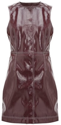Ganni Button-down Patent-vinyl Mini Dress - Womens - Burgundy