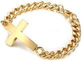 Censtusllery Mens Fashion Stainless Steel Cross Link Bracelet