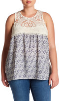 Jolt Lace Yoke Print Tank (Plus Size)