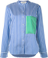 Ports 1961 contrast patch striped cape sleeve shirt - women - Silk/Cotton/Polyester - 42