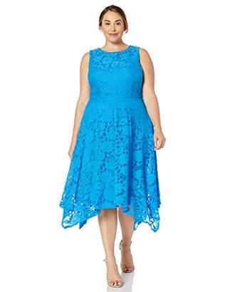 Jessica Howard Plus Size Womens Sleeveless Fit and Flare Dress with Hankerchief Hem