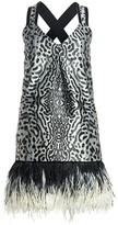 Proenza Schouler Sleeveless Feather-Trim Printed Jacquard Mini Dress