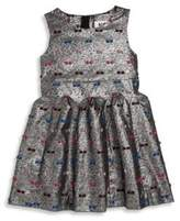Milly Girl's Metallic Bow Jacquard Fit & Flare Dress