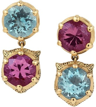 Gucci 18kt yellow gold Le Marche des Merveilles diamond, aquamarine and tourmaline earrings