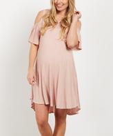 PinkBlush Pink Crochet Cold Shoulder Maternity Dress