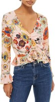 Topshop Women's Star & Floral Print Ruched Blouse
