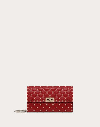 Valentino Garavani Rockstud Spike Nappa Leather Crossbody Clutch Bag Women Rosso Cotton, Polyester OneSize