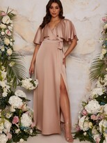 Thumbnail for your product : Chi Chi London Angel Sleeve Wrap Maxi Bridesmaid Dress - Champagne