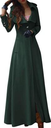 AOGOTO Womens Winter Lapel Slim Coat Trench Jacket Long Parka Overcoat Outwear Green