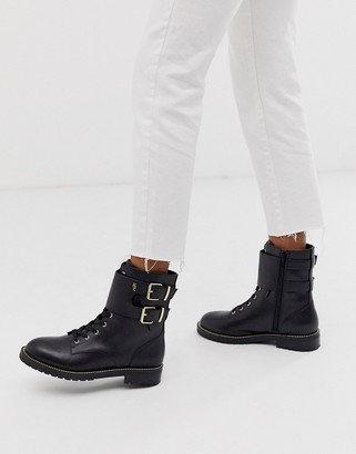 Kurt Geiger London Sutton black leather lace up flat ankle boots with buckle strap detail