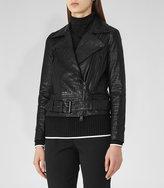 Reiss Adalie Croc-Effect Leather Jacket