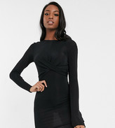 Only Tall Only Queen long sleeve glitter bodycon dress with knot front