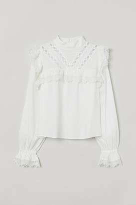 H&M Lace-trimmed Blouse - White