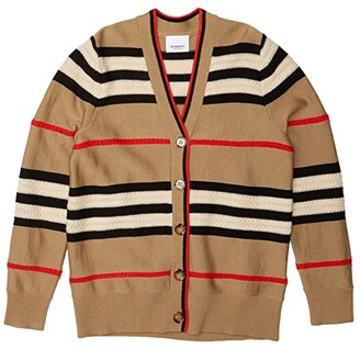 BURBERRY KIDS Stripe and Cable Cardi (Little Kids/Big Kids) (Beige) Girl's Clothing