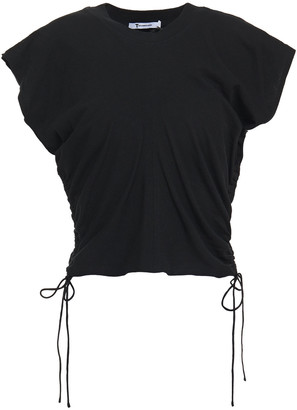 alexanderwang.t Cropped Ruched Cotton-jersey Top