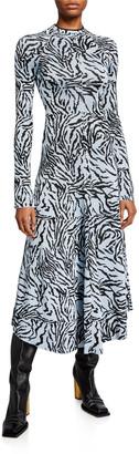 Proenza Schouler Long-Sleeve Fluid Jacquard Dress