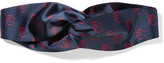 Gucci Twisted Printed Silk-satin Headband - Blue