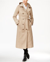 Anne Klein Hooded Water-Resistant Long Trench Coat