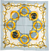 One Kings Lane Vintage Celine Blue Gold Silk Scarf