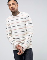 Asos Cable Knit Sweater With Stripes