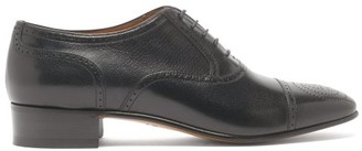 Gucci Dracma Gg-perforation Lace-up Derby Shoes - Mens - Black