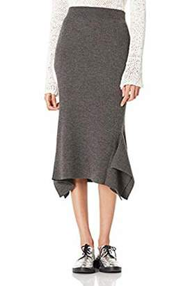 Peplum Pointe Women's Knit Stretchy Below Knee Irregular Hem Knit Skirt (