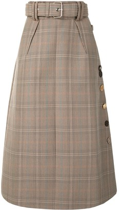 Dice Kayek Belted Check Print Midi Skirt