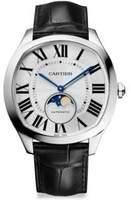 Cartier Drive de Moon Phase Stainless Steel & Alligator Strap Watch
