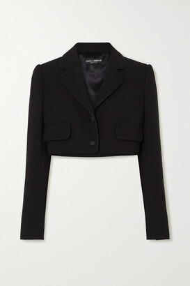 Dolce & Gabbana - Cropped Satin-trimmed Stretch Wool And Silk-blend Blazer - Black