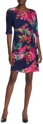 Robbie Bee Crew Neck Floral Print Dress