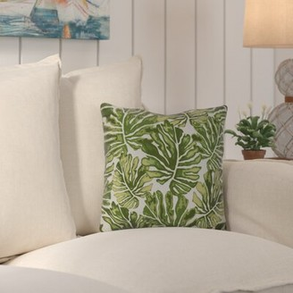 """Beachcrest Home Thirlby Palm Leaves Outdoor Square Pillow Cover & Insert Size: 16"""" H x 16"""" W x 3"""" D, Color: Green"""
