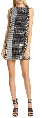 Alice + Olivia Clyde Pattern Mix Wool Blend Shift Dress