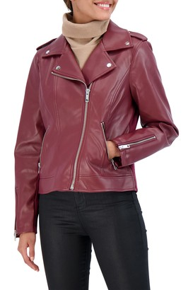 Sebby Collection Faux Leather Biker Jacket