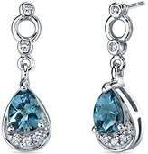 Peora London Topaz Dangle Earrings in Sterling Silver Rhodium Nickel Finish 1.50 Carats Total Weight
