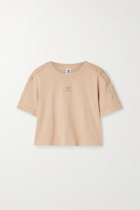 adidas Cropped Lurex-trimmed Appliqued Cotton-jersey T-shirt - Blush
