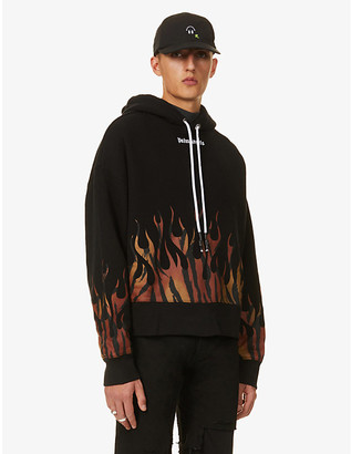 Palm Angels Tiger-print-flames cotton-jersey hoody