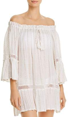 Surf.Gypsy Sequin-Striped Off-the-Shoulder Tunic Swim Cover-Up