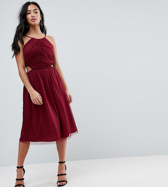 ASOS Dobby High Neck Midi Dress With Cut Out Sides