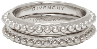 Givenchy Silver Small Beaded Ring Set