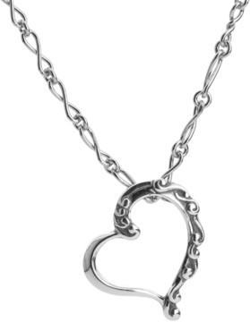 Carolyn Pollack Scroll Heart Necklace in Sterling Silver