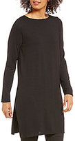 Eileen Fisher Ballet Neck Long Sleeve Side Slit Solid Jersey Tunic