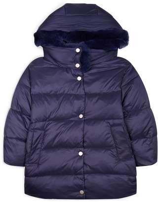 Yves Salomon Enfant Rex Rabbit Collar Hooded Coat