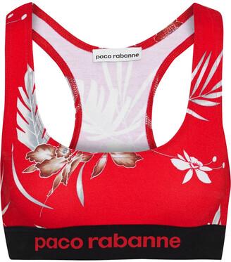 Paco Rabanne Monogram-trimmed Printed Stretch Sports Bra