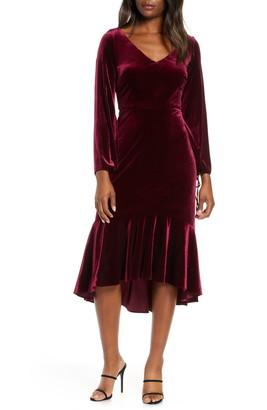 Taylor Dresses Long Sleeve Velvet Midi Dress
