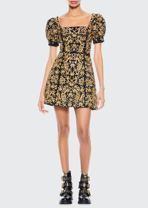 Alice + Olivia Kristina Embroidered Square-Neck Dress